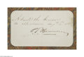 Autographs:Celebrities, Phineas T. Barnum Signed Pass to Barnum's Museum, 1861...