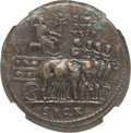 Ancients:Roman Imperial, Ancients: Divus Vespasian (after AD 79). Orichalcum sestertius(34mm, 27.43 gm, 7h). NGC Choice XF 4/5 - 2/5, smoothing....