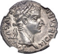 Ancients:Roman Imperial, Ancients: Tiberius (AD 14-37). AR denarius (19mm, 3.63 gm, 2h). NGC MS ★ 5/5 - 4/5....