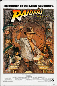 """Raiders of the Lost Ark (Paramount, R-1982). Rolled, Very Fine-. One Sheet (27"""" X 41""""). Richard Amsel Artwork..."""