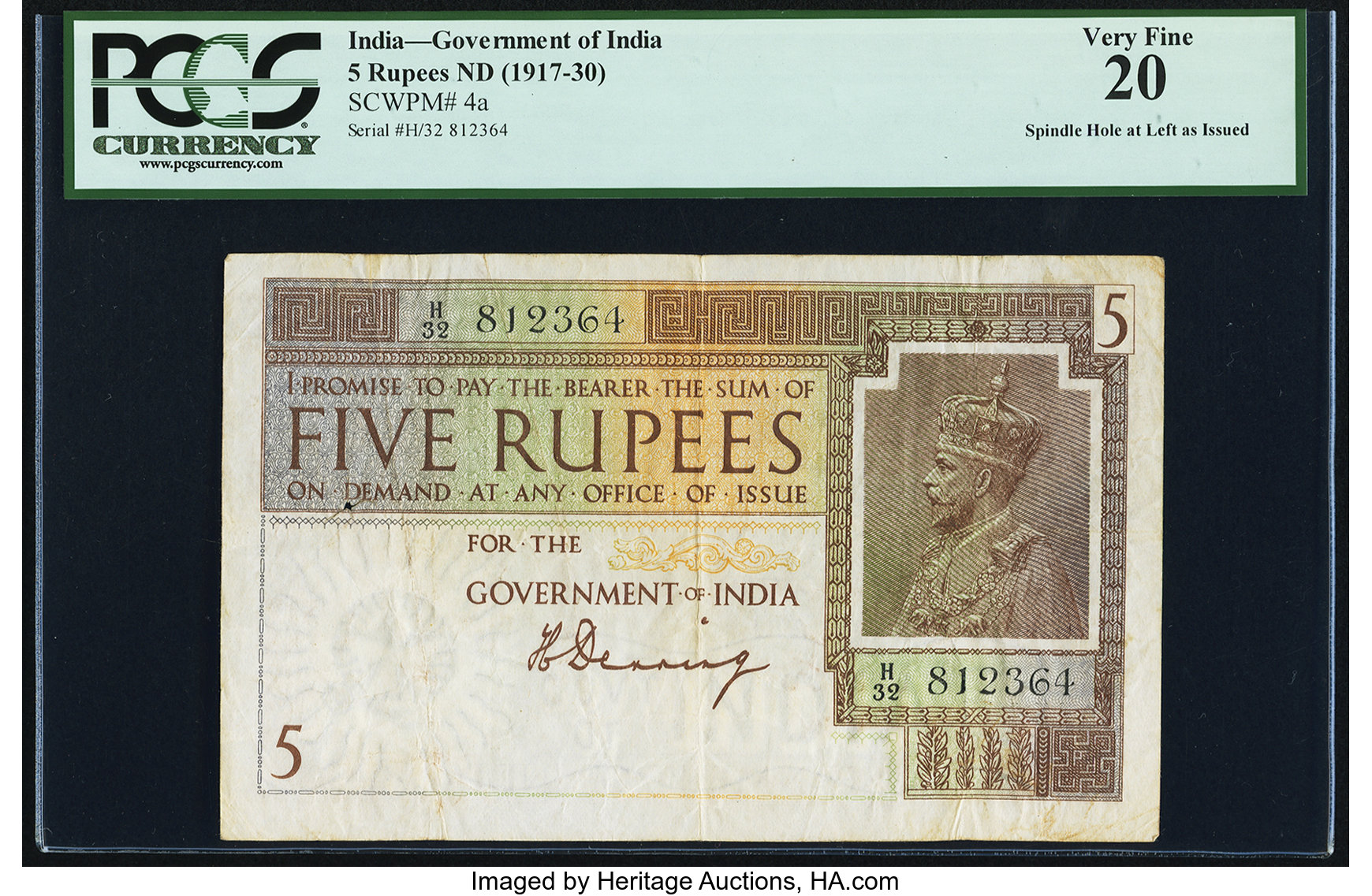 India Government of India 5 Rupees ND (1917-30) Pick 4a PCGS