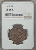 Large Cents, 1820 1C Large Date MS64 Brown NGC. NGC Census: (164/172). PCGS Population: (232/177). CDN: $1,025 Whsle. Bid for problem-fr...