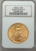 Saint-Gaudens Double Eagles: , 1908-D $20 No Motto MS63 NGC. NGC Census: (1499/658). PCGS Population: (1580/1892). CDN: $1,400 Whsle. Bid for problem-free...