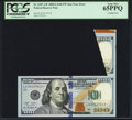 Error Notes:Foldovers, Fr. 2187-A* $100 2009A Federal Reserve Note. PCGS Gem New 65PPQ.....