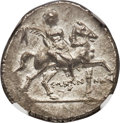Ancients:Greek, Ancients: CALABRIA. Tarentum. Punic occupation by Hannibal (ca.212-209 BC). AR half shekel (19mm, 3.87 gm, 6h). NGC MS 4/5 -4/5....