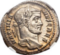 Ancients:Roman Imperial, Ancients: Galerius, as Caesar (AD 305-311). AR argenteus (20mm,2.49 gm, 5h). NGC Choice MS 5/5 - 5/5....