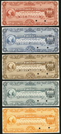 Miscellaneous:Other, Early 20th Century Wells Fargo & Company Traveler's Check Proof / Specimen Set $10; $20; $50; $100; $200 ND (ca. 1905-1914). C... (Total: 5 notes)
