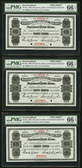 Canadian Currency, St. John's, NF- 40¢; 50¢; 80¢; $1; $5 1901-1902 Ch. # NF-2bs; 3bs;4as; 5as; 6as Complete Specimen Set PMG Gem Uncirculated 66...(Total: 5 notes)