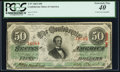 Confederate Notes:1863 Issues, T57 $50 1863 PF-12 Fr. 415 PCGS Extremely Fine 40.. ...