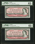 Canadian Currency, BC-44d $1000 1954 PMG Choice Uncirculated 63 EPQ Two Consecutive Examples.. ... (Total: 2 notes)