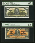 Canadian Currency, BC-25c $20 1937 PMG Gem Uncirculated 65 EPQ;. BC-26b $50 1937 PMG Choice About Uncirculated 58.. ... (Total: 2 notes)