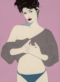 Patrick Nagel (American, 1945-1984) Untitled Acrylic on canvas 39 x 29 in. Not signed