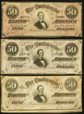 Confederate Notes:1864 Issues, T66 $50 1864, Three Examples Very Fine-Extremely Fine or Better.. ... (Total: 3 notes)
