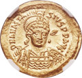 Ancients:Byzantine, Ancients: Anastasius I (AD 491-518). AV solidus (21mm, 4.45 gm,7h). NGC Gem MS 5/5 - 5/5....