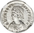 Ancients:Roman Imperial, Ancients: Theodosius II (AD 402-450). AR light miliarensis (24mm,4.32 gm, 6h). NGC AU ★ 5/5 - 4/5....