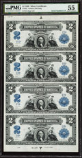 Large Size:Silver Certificates, Fr. 252 $2 1899 Silver Certificate Complete Uncut Sheet of Four PMG About Uncirculated 55.. ...