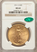 Saint-Gaudens Double Eagles: , 1911-S $20 MS64 NGC. CAC. NGC Census: (1385/274). PCGS Population: (1733/624). CDN: $1,650 Whsle. Bid for problem-free NGC/...