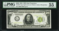 Small Size:Federal Reserve Notes, Fr. 2201-L $500 1934 Light Green Seal Federal Reserve Note. PMG About Uncirculated 55.. ...