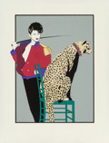 Mainstream Illustration, Patrick Nagel (American, 1945-1984). The Leopard Trainer,Playboy illustration. Acrylic and pencil on paper. 23 x 17in....