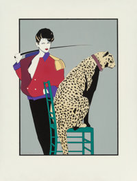 Patrick Nagel (American, 1945-1984) The Leopard Trainer, Playboy illustration Acrylic and pencil on