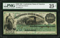 Confederate Notes:1861 Issues, T3 $100 1861 PF-2 Cr. 3 PMG Very Fine 25 Net.. ...