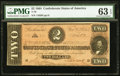 Confederate Notes:1864 Issues, T70 $2 1864 PF-5 Cr. 567 PMG Choice Uncirculated 63 EPQ.. ...