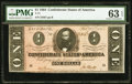 Confederate Notes:1864 Issues, T71 $1 1864 PF-4 Cr. 577 PMG Choice Uncirculated 63 EPQ.. ...