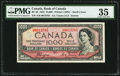 """Canada Bank of Canada $1000 1954 Pick 73 BC-36 """"Devil's Face"""" PMG Choice Very Fine 35"""