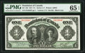 Canadian Currency, DC-18d $1 3.1.1911 PMG Gem Uncirculated 65 EPQ.