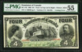 """Canadian Currency, DC-17b $4 2.1.1902 """"Cutting Error"""" PMG About Uncirculated 55.. ..."""