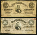 Confederate Notes:1864 Issues, T66 $50 1864 PF-12; -13 Cr. 501; 502 Very Good or better.. ... (Total: 2 notes)