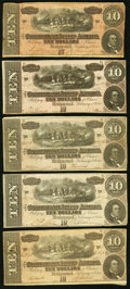 Confederate Notes:1864 Issues, T68 $10 1864 PF-1; -3; -6; -10; -15 Cr. 540; 541; 542; 543; 545 Fine or better.. ... (Total: 5 notes)