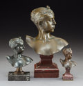 Sculpture, A Group of Three Diana Bronze Busts After Antoine Falguiere. Each marked: A. Falguiere / Thiebault Freres. 10-1/2 x 6-1/2 x ... (Total: 3 Items)