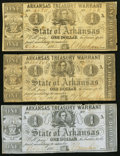 Obsoletes By State:Arkansas, (Little Rock), AR- State of Arkansas $1 (3) 1862-64 Cr. 32A; 34; 34A Very Good or better.. ... (Total: 3 notes)