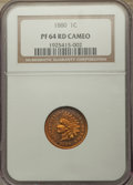 Proof Indian Cents, 1880 1C PR64 Red Cameo NGC. NGC Census: (4/2). PCGS Population: (1/12)....