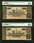 Confederate Notes:1864 Issues, T67 $20 1864, Two Examples PMG Graded Choice Uncirculated 63 EPQ; Choice Uncirculated 64.. ... (Total: 2 notes)