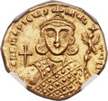Ancients:Byzantine, Ancients: Philippicus (Bardanes) (AD 711-713). AV solidus (21mm,4.42 gm, 6h). NGC MS ★ 5/5 - 4/5, edge mark....