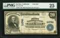 Del Rey, CA - $20 1902 Plain Back Fr. 658 The First NB Ch. # 11041 PMG Very Fine 25