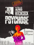 "Movie Posters:Hitchcock, Psycho (Universal, R-1969). Folded, Very Fine-. French Grande (46"" X 61.5""). Hitchcock.. ..."