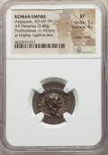 Ancients:Roman Imperial, Ancients: Divus Vespasian (died AD 79). Judaea Capta issue. ARdenarius (19mm, 3.48 gm, 5h). NGC XF 5/5 - 4/5, edge marks....