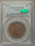 Large Cents, 1817 1C 13 Stars, N-14, R.1, MS64 Red and Brown PCGS. CAC....