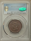1847 1C MS64 Brown PCGS Secure. CAC. N-25. PCGS Population: (74/27 and 2/0+). NGC Census: (59/29 and 0/0+). CDN: $550 Wh...