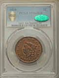 1818 1C MS64 Red and Brown PCGS Secure. CAC. PCGS Population: (59/1 and 1/0+). NGC Census: (47/6 and 1/0+). CDN: $1,025...