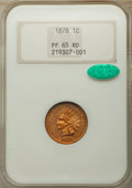 Proof Indian Cents: , 1878 1C PR65 Red NGC. CAC. NGC Census: (18/5). PCGS Population: (36/10). PR65. Mintage 2,350. ...