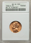 1968-S 5C Jefferson Nickel -- On a Cent Planchet -- MS64 Red ANACS