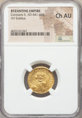Ancients:Byzantine, Ancients: Constans II Pogonatus (AD 641-668). AV solidus (19mm,7h). NGC Choice AU....