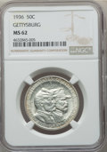 1936 50C Gettysburg MS62 NGC. NGC Census: (95/3303). PCGS Population: (134/5721). CDN: $420 Whsle. Bid for problem-free...