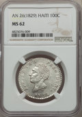 Haiti, Haiti: Republic 100 Centimes L'An 26 (1829) MS62 NGC,...