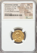 Ancients:Byzantine, Ancients: Constans II Pogonatus (AD 641-668). AV solidus (20mm,4.37 gm, 7h). NGC MS 5/5 - 3/5, clipped....