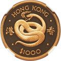 """Hong Kong :British Colony, Hong Kong : British Colony. Elizabeth II gold Proof """"Year of the Snake"""" 1000 Dollars 1977 PR68 Ultra Cameo NGC,..."""